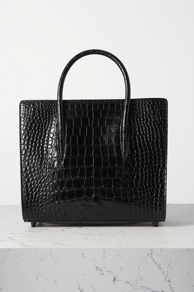Christian Louboutin Paloma Medium Rubber-trimmed Croc-effect Leather Tote - Black