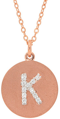 Nephora 14K Rose Gold 0.10 Ct. Tw. Diamond Disc Initial A-Z Necklace