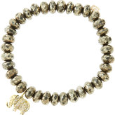 Sydney Evan Jewelry 8mm Faceted Champagne Pyrite Beaded Bracelet with 14k Gold/Diamond Small Elephant Charm (Made to Order)