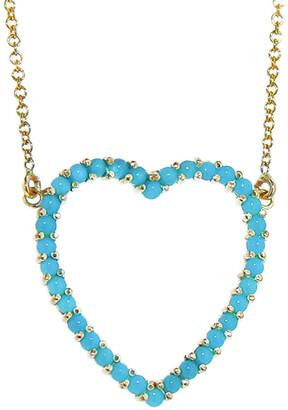 Jennifer Meyer Turquoise Large Open Heart Yellow Gold Necklace