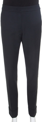 Armani Collezioni Charcoal Grey Stretch Knit Cuffed Hem Tailored Trousers M