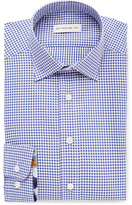 Etro Navy Slim-fit Cutaway-collar Gingham Cotton Shirt - Navy