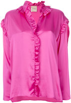 Nude ruffled blouse