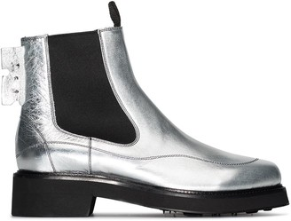 Off-White metallic Chelsea boots