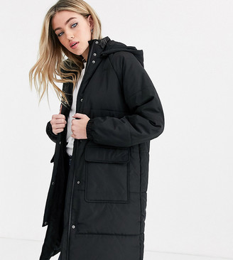 Noisy May longline padded jacket with pockets in black