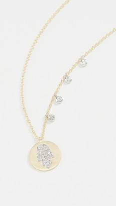 Meira T Pave Hamsa Medallion Necklace