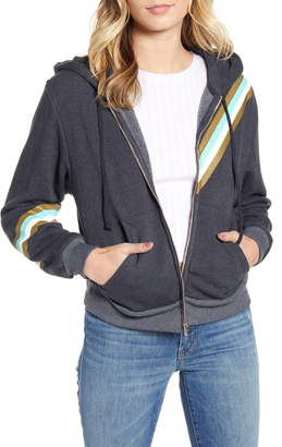 Wildfox Couture High On Nature Everyday Metallic Stripe Cotton Blend Hoodie