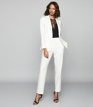 Reiss Leigh - Wool Blend Tuxedo Blazer in White