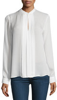 L'Agence Lauren Long-Sleeve Pleated Silk Blouse