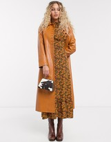 Topshop faux leather midi trench coat in tan