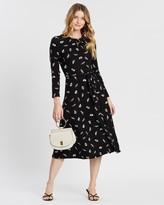Dorothy Perkins Feather Print Keyhole Midi Dress