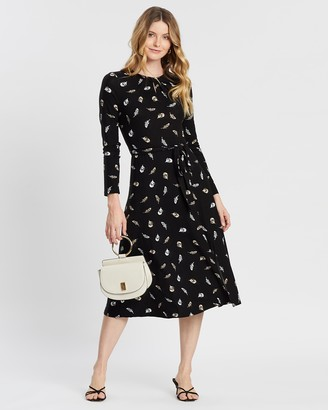 Dorothy Perkins Feather Print Keyhole Midi Dress