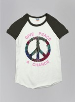 Junk Food Clothing Kids Girls Give Peace A Chance Short Sleeve Raglan-su/jb-m