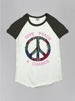 Junk Food Clothing Kids Girls Give Peace A Chance Short Sleeve Raglan-su/jb-xs
