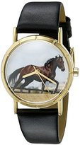 Whimsical Watches Kids' P0110032 Classic Thoroughbred Horse Black Leather And Goldtone Photo Watch