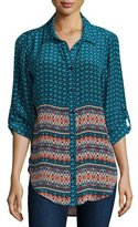 Tolani Selina Button-Front Printed Blouse, Turquoise
