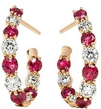 Gumuchian 18K Rose Gold New Moon Diamond & Ruby Hoop Earrings