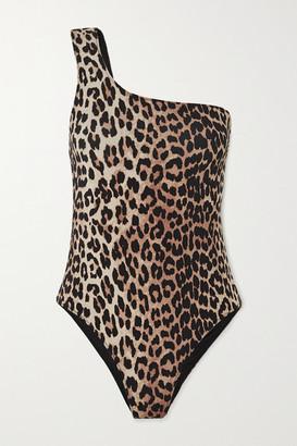 Ganni One-shoulder Leopard-print Swimsuit - Leopard print