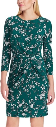Chaps Petite Floral Gathered-Waist Sheath Dress