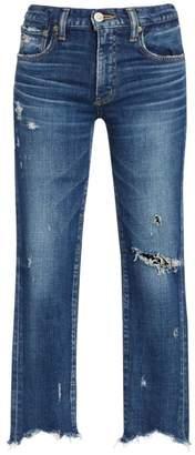 Moussy Vintage Glendele Mid-Rise Frayed Skinny Ankle Jeans