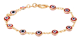 Sweet & Soft Gold & Red Crystal Evil Eye Bracelet