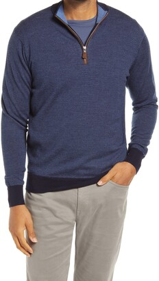 Peter Millar Needle Stripe Quarter Zip Wool Sweater