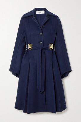LANVIN - Belted Embellished Wool-blend Coat - Blue