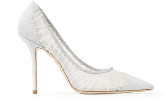 Jimmy Choo LOVE 100 Metallic Silver Glitter Fabric Pumps with Ivory Tulle Overlay