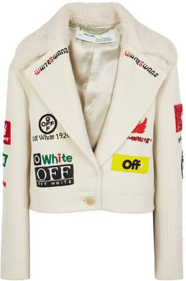 Off-White Off White Embellished Cropped Wool-blend Jacket