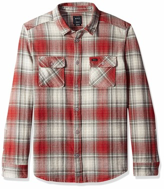 RVCA Men's HIGH Plains Long Sleeve Woven Plaid Shirt