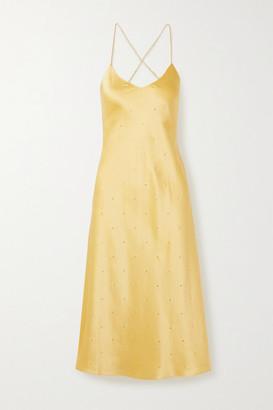 Mason by Michelle Mason Open-back Crystal-embellished Silk-satin Midi Dress - Marigold