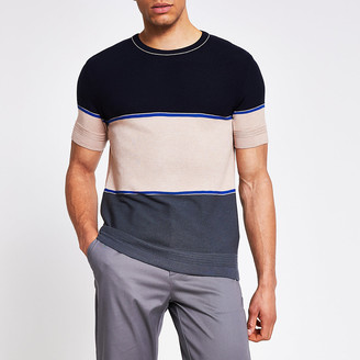 River Island Navy colour blocked slim fit knitted T-shirt