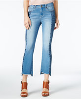 WILLIAM RAST Cropped Frayed Two-Tone Flared Jeans