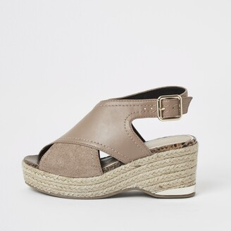 River Island Girls Brown crossover wedge sandals