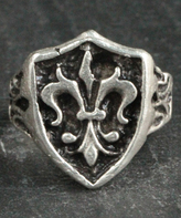 Nautilus Silvertone Fluer-de-Lis Adjustable Ring