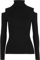 Theory Jemliss Cutout Ribbed Wool-blend Sweater - Black