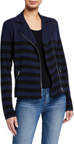 Majestic Filatures Striped Long-Sleeve Moto Blazer