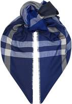 Barbour Check Wool Scarf, Blue, One Size