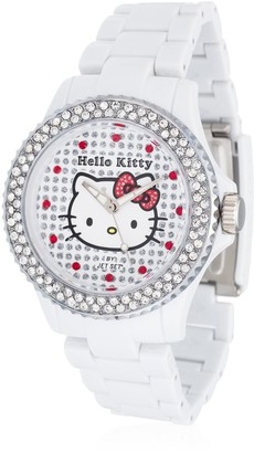 Hello Kitty Girl's Watch with Nichinan White Stones and White Plastic Strap HK146S-041