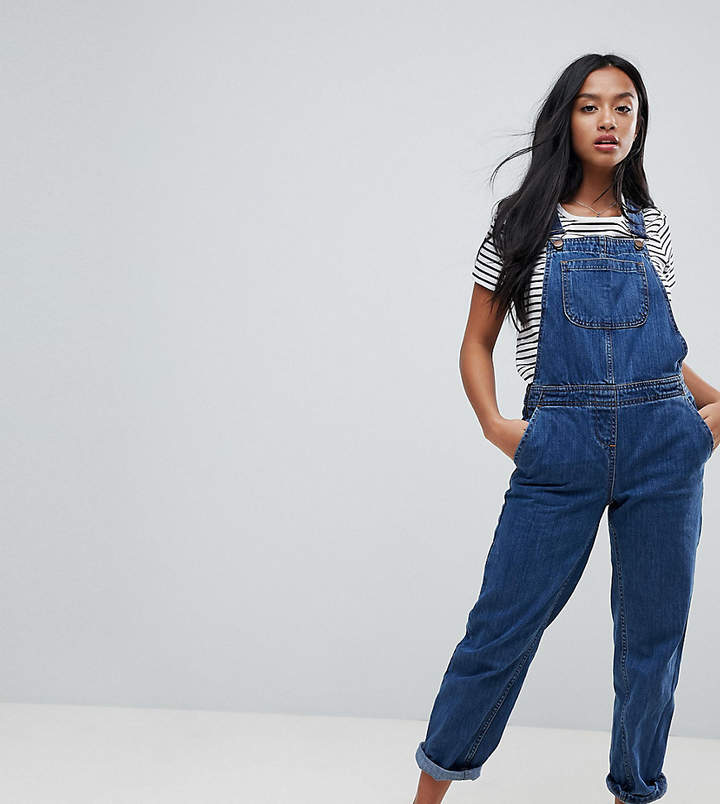 Asos Design Petite Denim Dungaree In Stonewash Blue