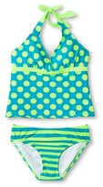 Circo Girls' Plus 2-Piece Polka Dot and Striped Tankini Lime 8 Plus