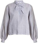 Frame Striped tie-neck linen blouse