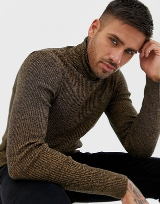 Asos DESIGN muscle fit ribbed roll neck sweater in tan twist