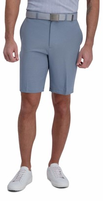 Haggar Men's Cool 18 Pro Stretch Solid Melange Flat Front Straight Fit Expandable Waist Short