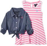 U.S. Polo Assn. Denim Button-Up & Pink Stripe Dress - Infant & Girls