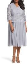 Alex Evenings Plus Size Women's Embellished Mock Two-Piece Tea Length Dress