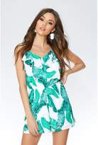 Quiz Green And White Palm Print Playsuit
