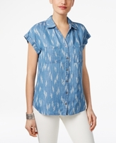 Style&Co. Style & Co Style & Co Petite Ikat-Print Denim Shirt, Created for Macy's