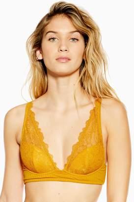 Topshop Womens Ribbed High Triangle Bra - Mustard