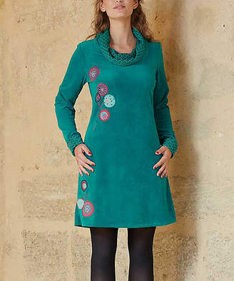 Coline Women's Casual Dresses Emerald - Emerald Medallion Embroidered Cowl Neck A-Line Dress - Women